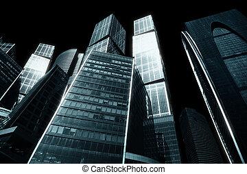 Gloomy city of skyscrapers