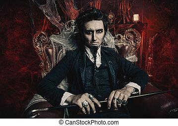 Nobleman vampire. Bewitching handsome male vampire ...