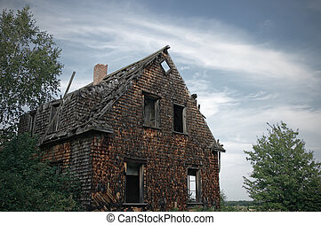 Facade of a gloomy haunted house.