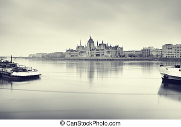 Gloomy image of Hungarian Parliament.