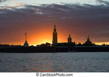 Gloomy may sunset over the Peter and Paul Fortress. Saint-Petersburg, Russia