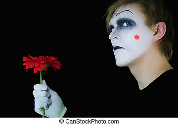 gloomy mime with red flower