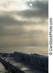 Gloomy morning at the Black sea coast near Odessa, Ukraine