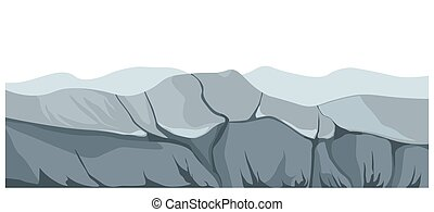 Gloomy panoramic landscape with rocks and mountains vector
