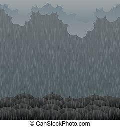 Gloomy Rain - Vector illustration of raining weather with...