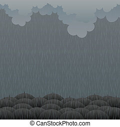 Gloomy Rain - Vector illustration of raining weather with...