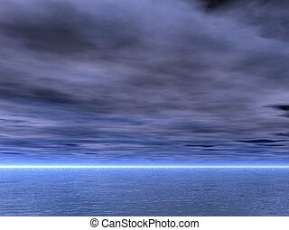 Cloudy and gloomy sky over the sea