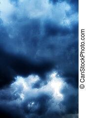 A dark sky.