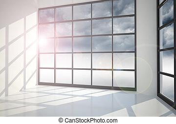 Gloomy sky seen through window