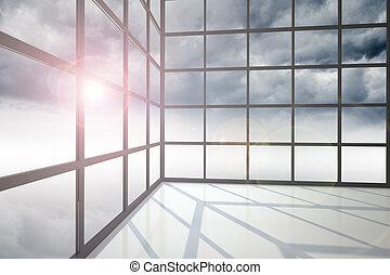 Gloomy sky seen through windows