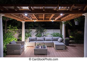 glorieta, con, cómodo, mobiliario de jardín