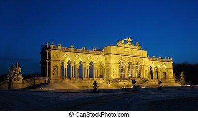 Glorietta in park of Shyonbrunnsky palace is shone in light...