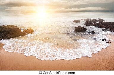 glorioso, salida del sol, encima, el, mar