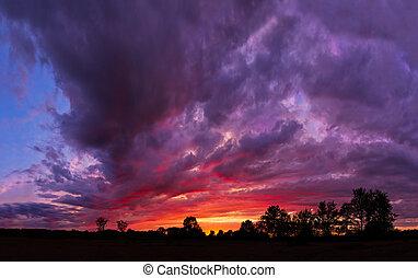 glorioso, tempestoso, tramonto