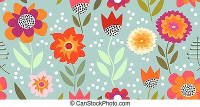 glory., padrão, seamless, outono, asters., vetorial, chrysanthemums