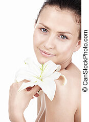 Glory - Beautiful girl with a lily on a white background