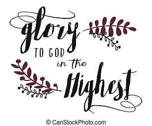 Glory to God in the Highest typography Design Art Card with Laurel Accents and burgundy watercolor texture effect