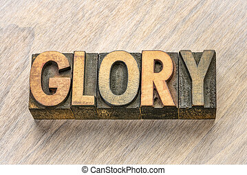 glory word in wood type