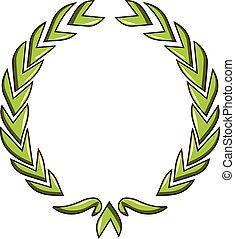 Glory wreath icon, cartoon style - Glory wreath icon....