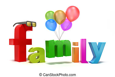 glose, familie, hos, colourful, letters.