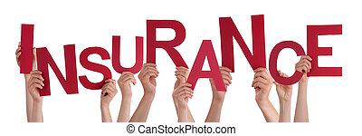 glose, folk, mange, hånd ind hånd, forsikring, rød