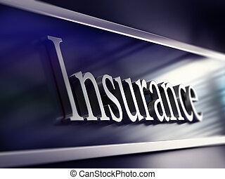 glose, forsikring, skriv, onto, en, selskab, plaque, perspektiv, udsigter, blå tone, og, sløre, indvirkning