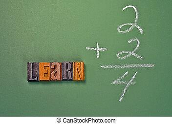 glose, lær, ind, letterpress, type