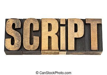glose, letterpress, manuskrift, -, træ, type