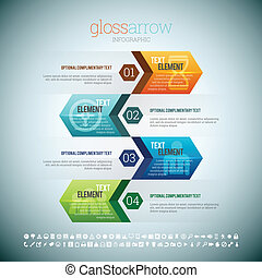Vector illustration of gloss arrow infographic elements.