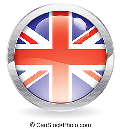 Gloss Button with British Flag - Three Dimensional circle...