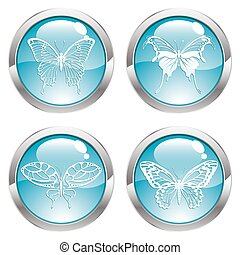 Gloss Button with Butterfly