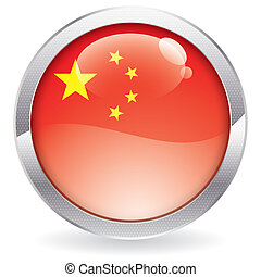 Gloss Button with China Flag
