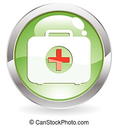 Gloss Button with First aid kit