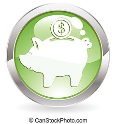 Gloss Button with piggy bank - Three Dimensional circle...