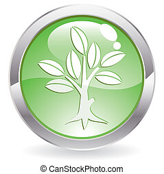 Gloss Button with tree - Three Dimensional circle button...