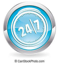 Gloss Button with twenty four hours by seven days