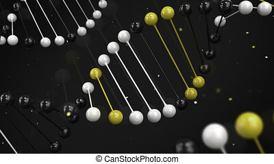 Gloss model of black, white and yellow DNA strand on black...