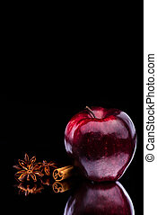 Gloss Red Apple on Dark Background