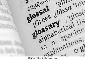 glossary, définition, dictionnaire