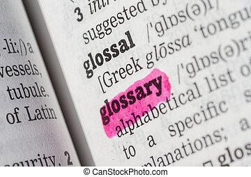 glossary, definicja, słownik