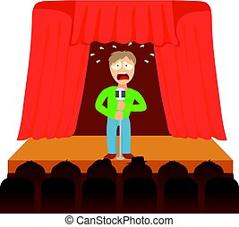 Glossophobia concept, cartoon illustration
