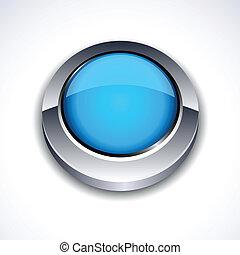 Blank 3d blue button. Vector.