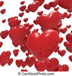 Glossy 3D red hearts background.