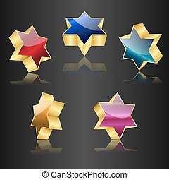 glossy 3d stars of David. gold with color variations on black background. vector illustration