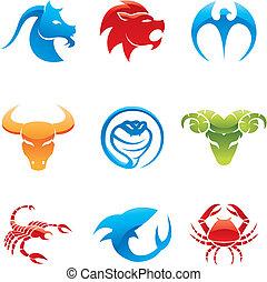 glossy animal icons