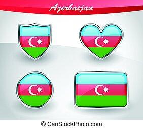 Glossy Azerbaijan flag icon set