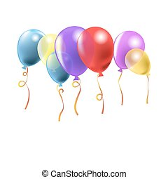 Glossy balloons with curli ribbons fly in air