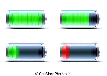 glossy battery - illustration of four detailed glossy...