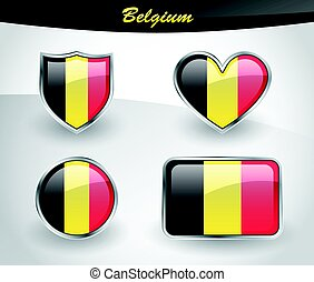 Glossy Belgium flag icon set