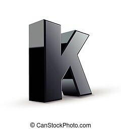 glossy black alphabet K